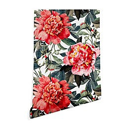 Deny Designs Marta Barragan Camarasa Big Red Flowers Peel and Stick Wallpaper