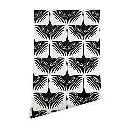 Deny Designs Caroline Okun Majestic Crane 2-Foot x 4-Foot Peel & Stick Wallpaper in Black