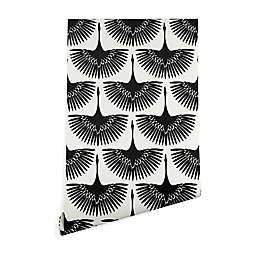 Deny Designs Caroline Okun Majestic Crane 2-Foot x 8-Foot Peel & Stick Wallpaper in Black