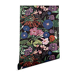 Deny Designs Floral Symphony Peel and Stick Wallpaper in Black