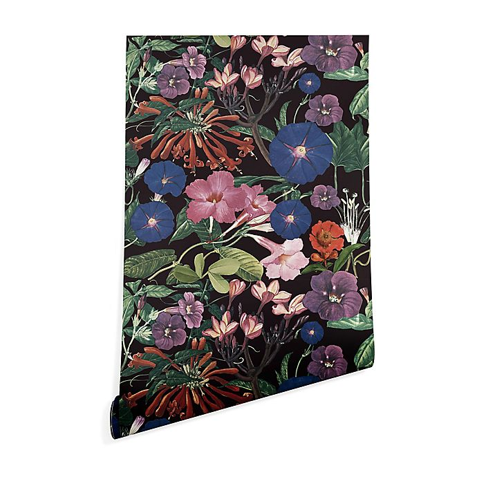 Alternate image 1 for Deny Designs Floral Symphony 2-Foot x 8-Foot Peel and Stick Wallpaper in Black