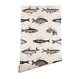 Deny Designs Florent Bodart Fishes in Geometrics Peel and Stick Wallpaper in Beige