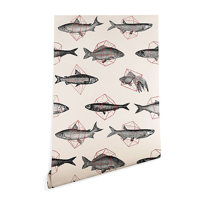 Alternate image 1 for Deny Designs Florent Bodart Fishes in Geometrics 2-Foot x 8-Foot Peel and Stick Wallpaper in Beige