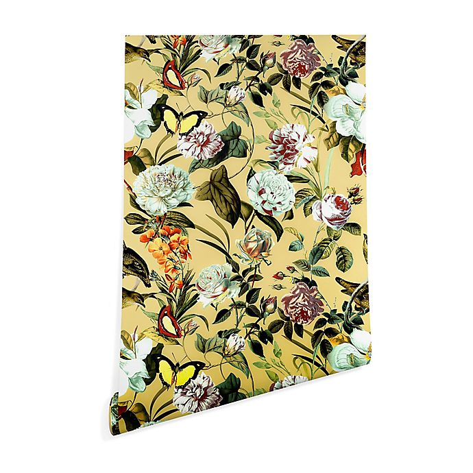 Alternate image 1 for Deny Designs Marta Barragan Camarasa Floral Bouquet 2-Foot x 8-Foot Wallpaper in Yellow