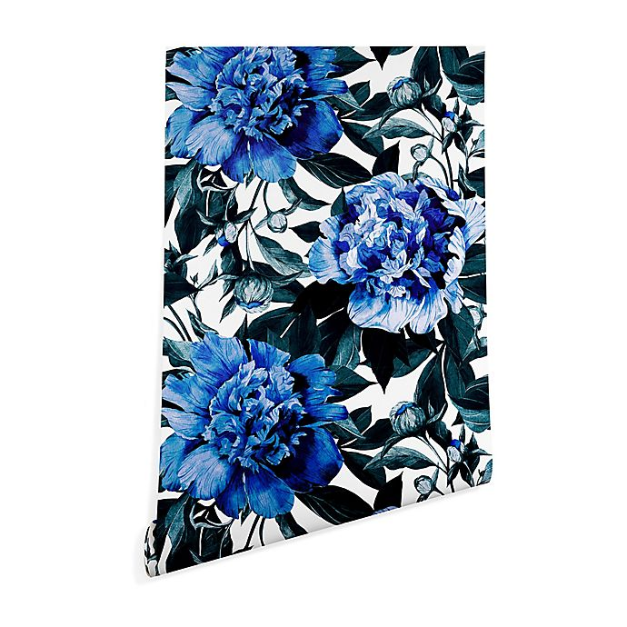Alternate image 1 for Deny Designs Marta Barragan Camarasa Indigo Floral 2-Foot x 8-Foot Wallpaper in Blue