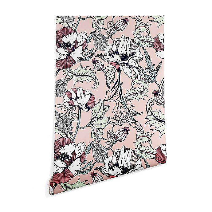 Alternate image 1 for Deny Designs Marta Barragan Camarasa Flowering Poppy 2-Foot x 10-Foot Wallpaper in Pink