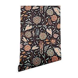 Deny Designs Holli Zollinger Night Blossom 2-Foot x 10-Foot Peel & Stick Wallpaper in Black