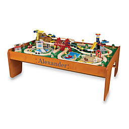 KidKraft® Personalized Ride Around Town Train Set with Table in Honey with Blue Lettering