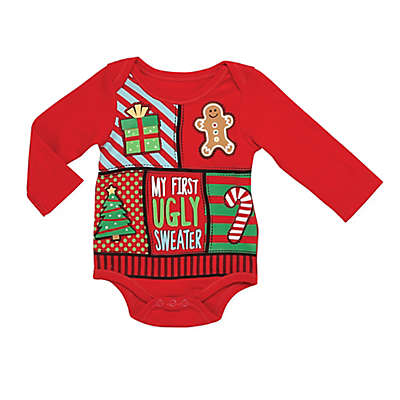 "Baby Starters® ""Ugly Sweater"" Bodysuit in Red"