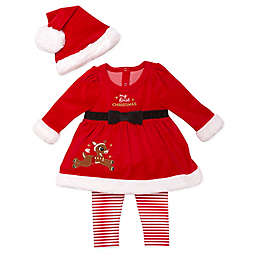 Rudolph the Red Nosed Reindeer 3-Piece Velour Hat, Dress, and Legging Set