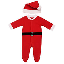 Baby Starters® 2-Piece Santa Fleece Hat and Footed Coverall Set in Red