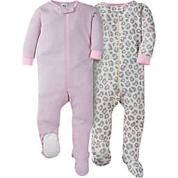 Gerber® 2-Pack Leopard Long Sleeve Footies in Grey