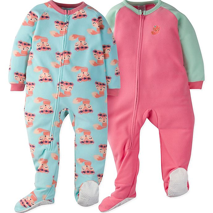 Alternate image 1 for Gerber® Size 4T 2-Piece Furry Foxes Sleep N' Play Footies in Green/Pink