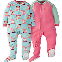 Gerber® 2-Piece Furry Foxes Sleep N' Play Footies in Green/Pink