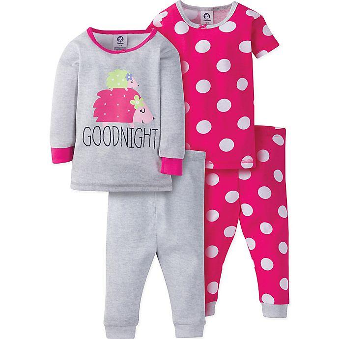 Alternate image 1 for Gerber® Size 3T 4-Piece Hedgehog Polka Dot Pajama Set in Grey/Pink