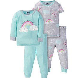 Gerber® 4-Piece Happy Rainbow Pajama Set in Green/Grey