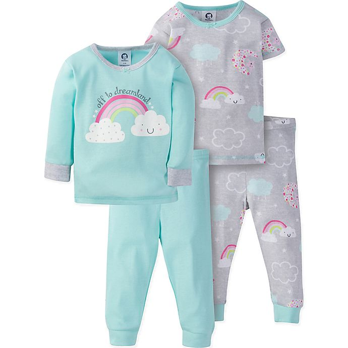 Alternate image 1 for Gerber® Size 3T 4-Piece Happy Rainbow Pajama Set in Green/Grey