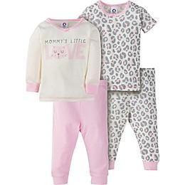 Gerber® 4-Piece Leopard Pajama Set in Ivory/Pink