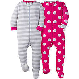 Gerber® 2-Pack Dots Long Sleeve Footies in Pink
