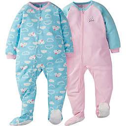 Gerber® 2-Pack Clouds Long Sleeve Blanket Sleepers in Green/Pink