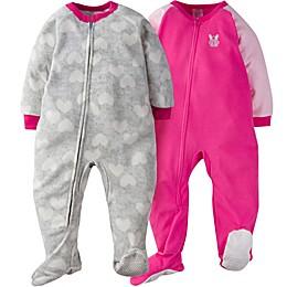Gerber® 2-Pack Bunny Blanket Sleepers in Grey/Pink
