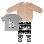 Mini Heroes Newborn 3-Piece Llama Top, Jacket and Legging Set in Grey