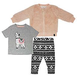 Mini Heroes 3-Piece Llama Top, Jacket and Legging Set in Grey