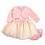 Nannette Baby® Size 0-3M 3-Piece Satin Dress and Velboa Shrug Set in Peach