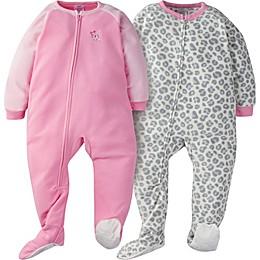 Gerber® 2-Pack Leopard Sleep & Play Footies in Grey/Pink