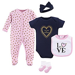 Hudson Baby® 5-Piece Love Layette Gift Set in Pink