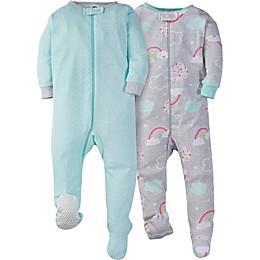 Gerber® 2-Pack Happy Rainbow Zip-Front Footed Pajamas