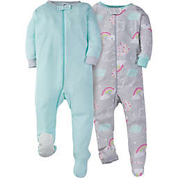 Gerber® Size 3M 2-Pack Happy Rainbow Zip-Front Footed Pajamas
