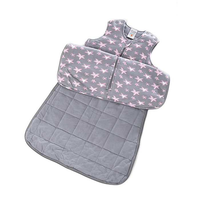 Alternate image 1 for Gunapod® Adjustable Wearable Blanket with WONDERZiP® in Grey/Pink Stars