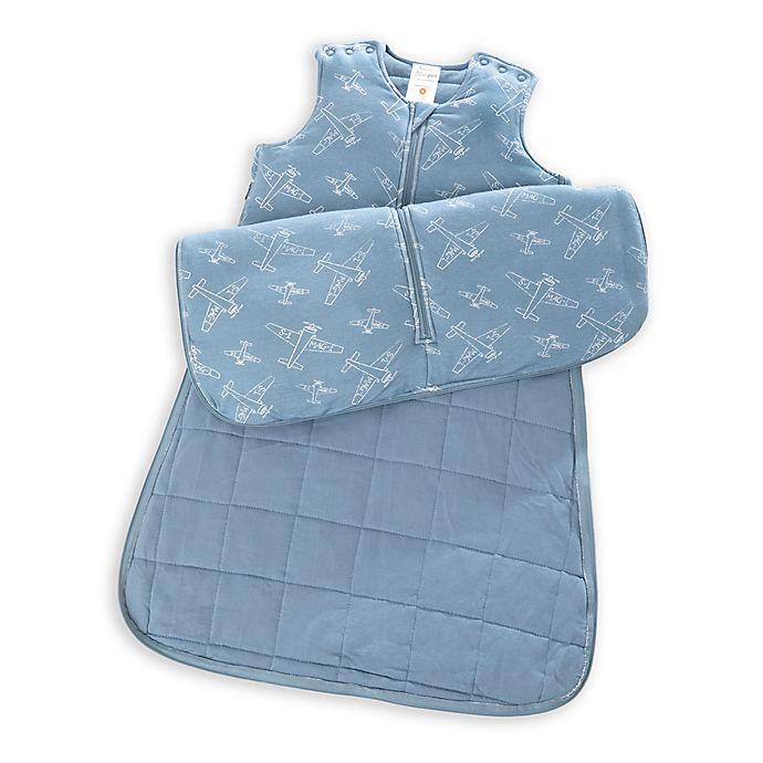 Alternate image 1 for Gunapod® Adjustable Wearable Blanket with WONDERZiP® in Blue Airplane