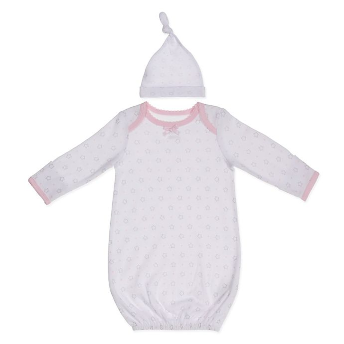 Alternate image 1 for Sterling Baby Preemie 2-Piece Stars Hat and Gown Set in Pink