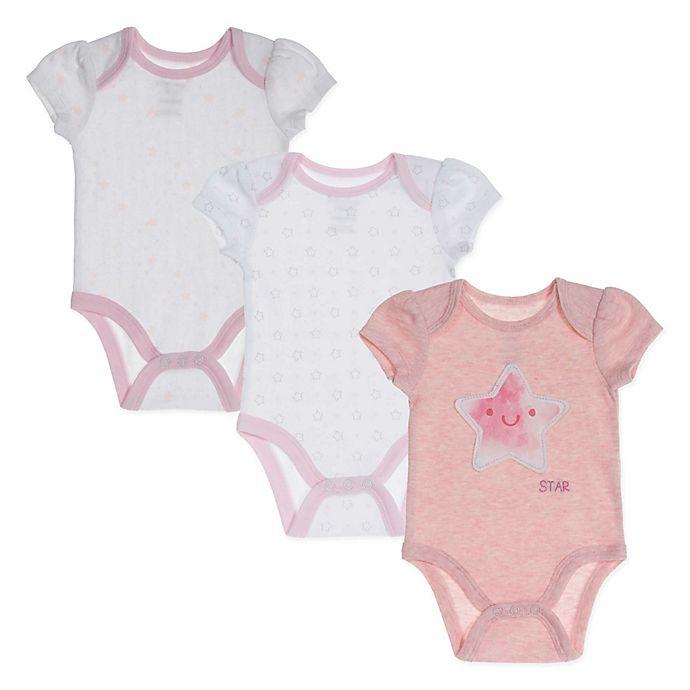 Alternate image 1 for Sterling Baby 3-Pack Preemie Pink Star Bodysuits