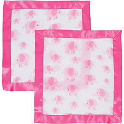 MiracleWare 2-Pack Pink Elephant Muslin Security Blanket with Satin Edge in Pink/White