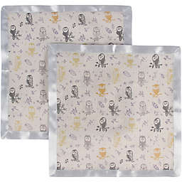 MiracleWare 2-Pack Forest Owl Muslin Security Blankets with Satin Trim in Grey