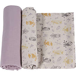 MiracleWare 2-Pack Forest Owl Muslin Swaddles in Grey