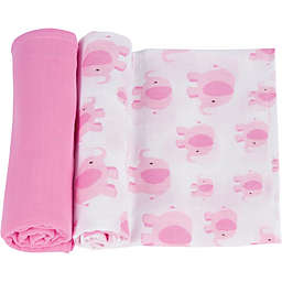 MiracleWare 2-Pack Pink Elephant Muslin Swaddles in Pink