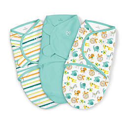 SwaddleMe® Original Love Zoo Small/Medium 3-Pack Organic Cotton Swaddles in Teal