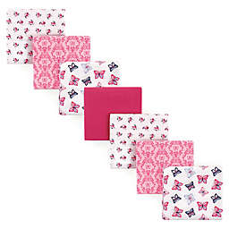 Hudson Baby® 7-Pack Butterfly Flannel Receiving Blankets in Pink