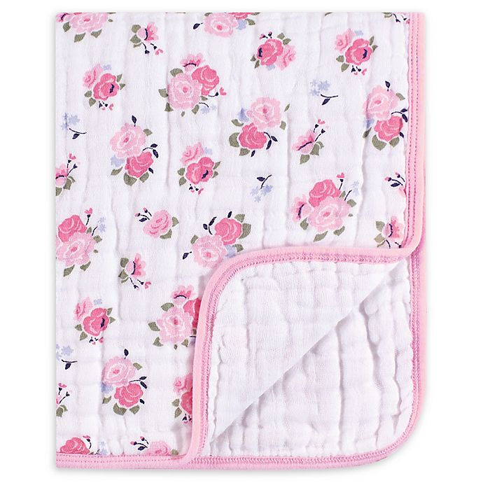 Alternate image 1 for Luvable Friends® Floral Muslin Tranquility Blanket in Pink
