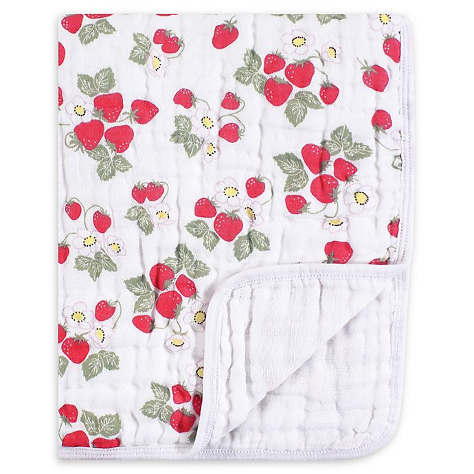 Alternate image 1 for Hudson Baby® Tranquility Strawberries Muslin Blanket in Red