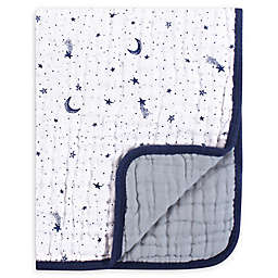 Yoga Sprout Tranquility Moon Muslin Blanket in Blue
