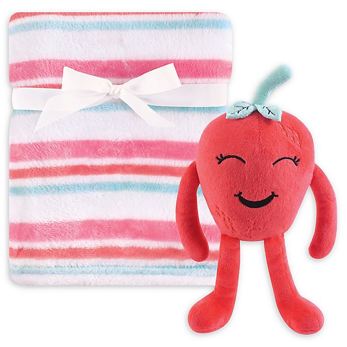 Alternate image 1 for Hudson Baby® 2-Piece Strawberry Plush Blanket and Toy Set in Red