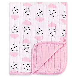 Hudson Baby® Tranquility Clouds and Hearts Muslin Blanket in Pink