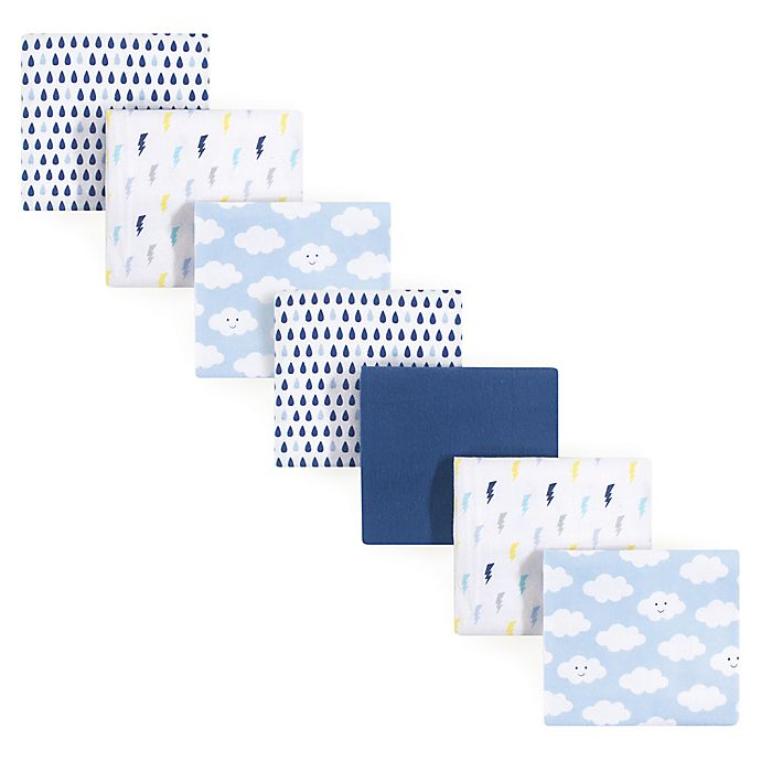 Alternate image 1 for Luvable Friends® 7-Pack Clouds Flannel Receiving Blankets in Blue