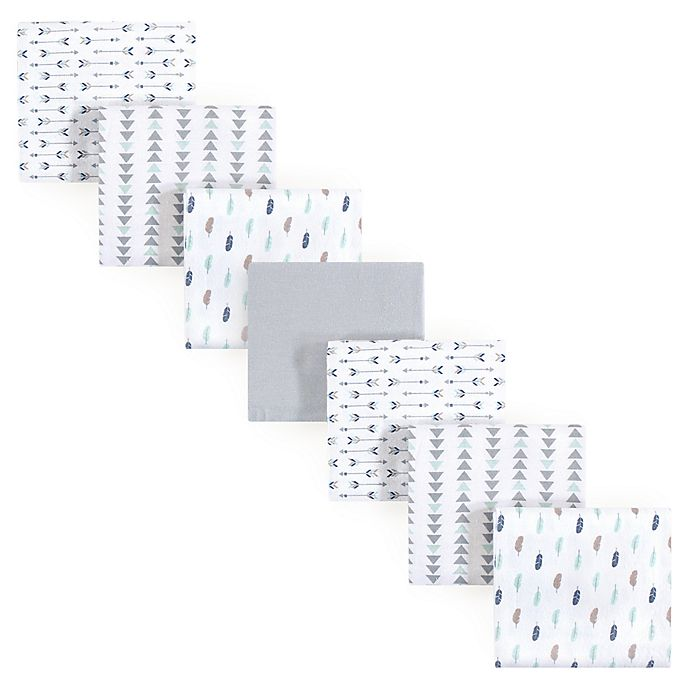 Alternate image 1 for Luvable Friends® 7-Pack Feathers Flannel Receiving Blankets in Blue