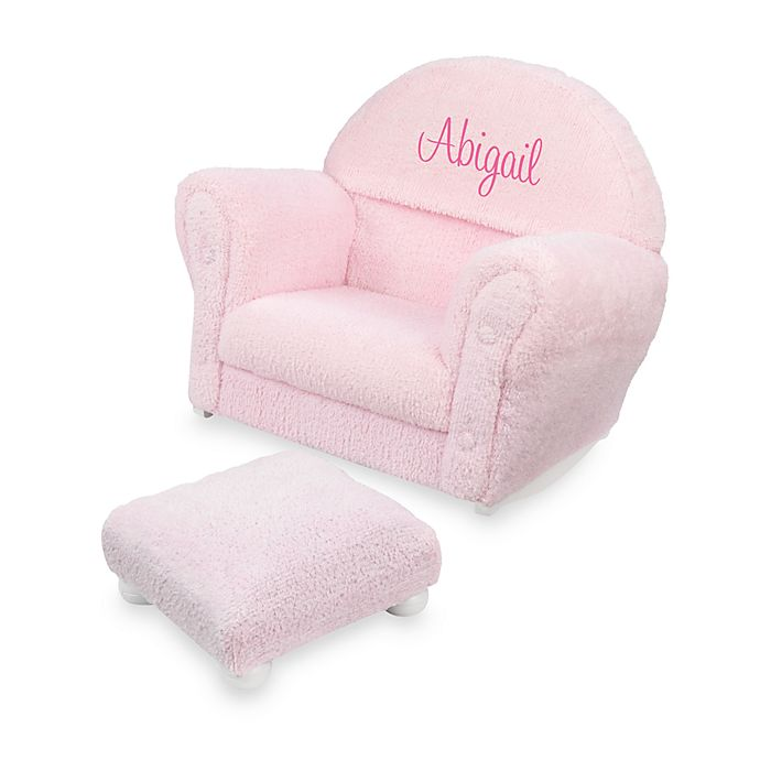 Kidkraft Personalized Chenille Upholstered Rocker And Ottoman In Pink With Letters